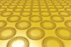 Pattern of concentric shapes made of rings and spirals on yellow. Background. Abstract geometric background with grid of concentric elements. 3D rendering stock illustration
