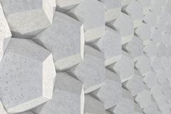Pattern of concrete hexagonal elements. Wall of dodecahedrons. Architectural background. 3D rendering illustration Stock Photography