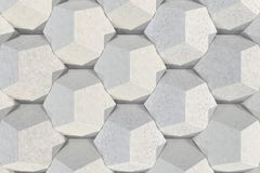 Pattern of concrete hexagonal elements. Wall of dodecahedrons. Architectural background. 3D rendering illustration Royalty Free Stock Photo
