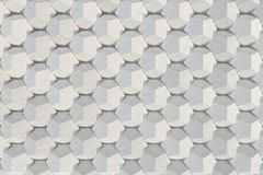Pattern of concrete hexagonal elements. Wall of dodecahedrons. Architectural background. 3D rendering illustration stock illustration