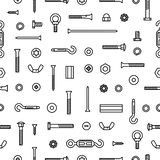 Pattern construction hardware, screws, bolts, nuts and rivets. Equipment stainless, fasteners, metal fixation gear on. Seamless pattern background vector illustration