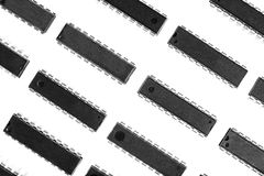 A pattern containing integrated circuits. Organized in lines Stock Photos