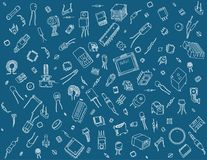 Electronic components pattern on blue background. Pattern containing various electronic components on blue background Stock Photography