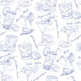 Pattern contemporary classic cocktails on Royalty Free Stock Image