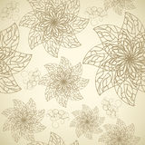 Pattern with contour flowers Royalty Free Stock Image