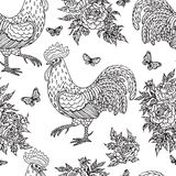 Pattern with contoured rooster, butterflies and flowers Stock Images