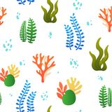 Pattern with coral and algae stock illustration