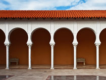 Pattern of covered arcade in Spanish style. Stock Images