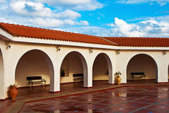 Pattern of covered arcade in Spanish style. Stock Image