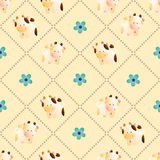 Pattern with cows. Baby seamless pattern with a funny cute farm cows and bulls, on a light beige background. Hand drawn vector stock illustration stock illustration