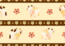 Pattern with cows. Baby seamless pattern with a funny cute farm cows and bulls, on a light beige background. Hand drawn vector stock illustration royalty free illustration