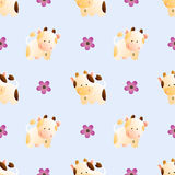 Pattern with cows. Baby seamless pattern with a funny cute farm cows and bulls, on a light blue background. Hand drawn vector stock illustration vector illustration