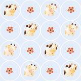 Pattern with cows. Baby seamless pattern with a funny cute farm cows and bulls, on a light blue background. Hand drawn vector stock illustration royalty free illustration