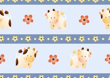 Pattern with cows. Baby seamless pattern with a funny cute farm cows and bulls, on a light blue background. Hand drawn vector stock illustration stock illustration