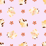 Pattern with cows. Baby seamless pattern with a funny cute farm cows and bulls, on a light pink background. Hand drawn vector stock illustration vector illustration