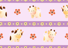 Pattern with cows. Baby seamless pattern with a funny cute farm cows and bulls, on a light pink background. Hand drawn vector stock illustration stock illustration