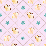 Pattern with cows. Baby seamless pattern with a funny cute farm cows and bulls, on a light pink background. Hand drawn vector stock illustration royalty free illustration