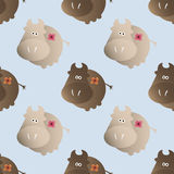 Pattern with cows. Baby seamless pattern with a funny cute farm cows, on a light blue background Stock Photo