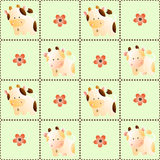 Pattern with cows. Baby seamless pattern with a funny cute farm cows, on a light green background stock illustration