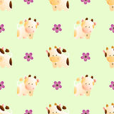 Pattern with cows. Baby seamless pattern with a funny cute farm cows, on a light green background royalty free illustration