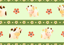 Pattern with cows. Baby seamless pattern with a funny cute farm cows, on a light green background vector illustration