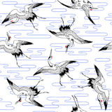 Pattern of crane,. I drew a crane in the technique of the Japanese traditional painting Stock Images