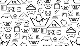 Pattern created from laundry washing symbols on a white background Stock Photography