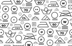 Pattern created from laundry washing symbols on a white background Stock Images