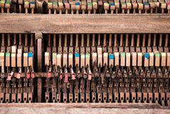 Accoustic Insides - The Inner Parts of an Upright Piano. A pattern created by photographing the hammers of an aged upright piano Royalty Free Stock Photos