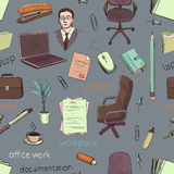 Pattern of creative hand drawn office workspace Stock Image