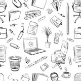 Pattern of creative hand drawn office workspace Stock Images