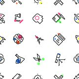 Pattern of creative icons with black stroke and color elements. vector illustration