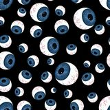 Pattern with creepy eyeballs. Texture of human eyeballs  on black background Stock Images