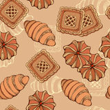 Pattern of  croissant, cookies and bakery Stock Image
