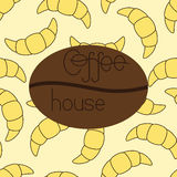 Pattern with croissants and coffee house logo Royalty Free Stock Images