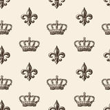 Pattern of the crown and french lily Royalty Free Stock Photo