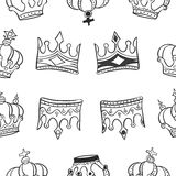 Pattern of crown hand draw collection Royalty Free Stock Images