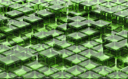Pattern of cubes. Background pattern of green transparent cubes Stock Photo