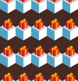 Pattern cubes gifts on brown. Vector seamless pattern with isometric white cubes and red gift boxes on a brown background Stock Images