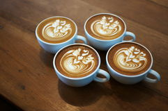1 pattern in 4 cup. Beautyful latteart in 4 cup royalty free stock photos