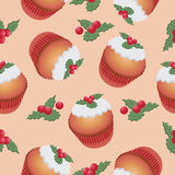 Pattern with cupcake and berries. Seamless pattern. Royalty Free Stock Photo