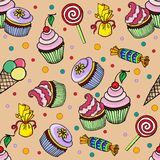Pattern with cupcake and candy Royalty Free Stock Photos