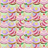 Pattern with cupcake. S decorated multicolored cream, yellow flowers, cherry on the pink background stock illustration