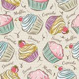 Pattern with cupcakes. Royalty Free Stock Photo