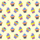 Pattern with cupcakes. Pattern with bright colored cupcakes dairy background Stock Photo