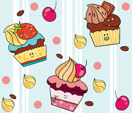 Pattern with cupcakes Royalty Free Stock Photos