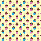 Pattern with cupcakes. Seamless pattern with cupcakes dairy background Stock Images