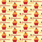 Pattern with cupcakes. Seamless pattern with cupcakes decorated with strawberry Royalty Free Stock Photo