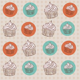 Pattern with cupcakes. Seamless vintage pattern with cupcakes and colorful circles Royalty Free Stock Images
