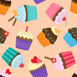 Pattern with cupcakes Stock Photos